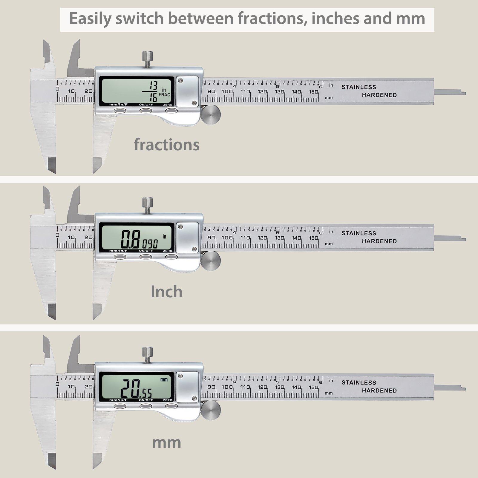 Digital Vernier Caliper + Feeler Gauge Neoteck 150mm/6Inch Stainless Steel Electronic Caliper Fractions/Inch/Metric Conversion Measuring Tool for Length Width Depth Inner Diameter Outer Diameter by Neoteck (Image #5)
