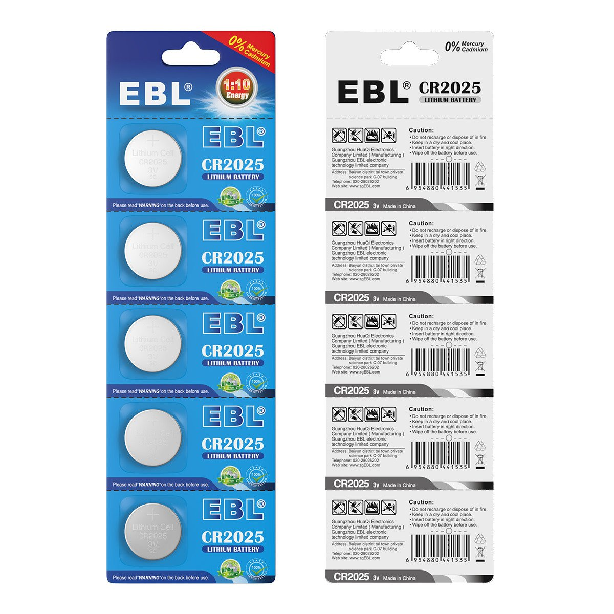 EBL 20 Stück Knopfbatterien CR2025 Lithium Knopfzelle 3Volt