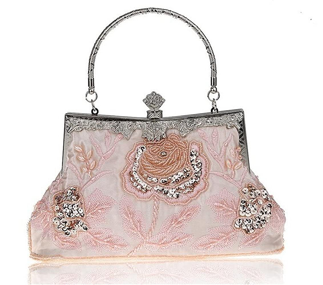 ISHOW Womens Beaded Vintage Satin Evening Party Prom Cluthes Dinner Handbag