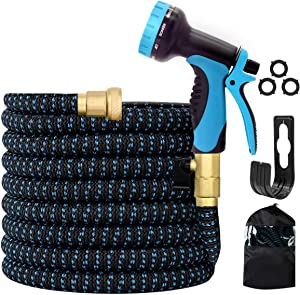 "MOOCHI 75 FT Expandable Garden Hose Fexible Fabric Water Hose with 3/4"" Solid Brass Fittings with 10 Functions Water Spray Nozzle"
