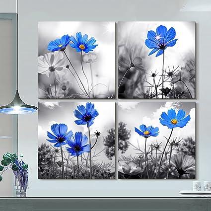 Amazon.com: hyidecor art Wall art 4 Panel Modern Salon Theme Black ...