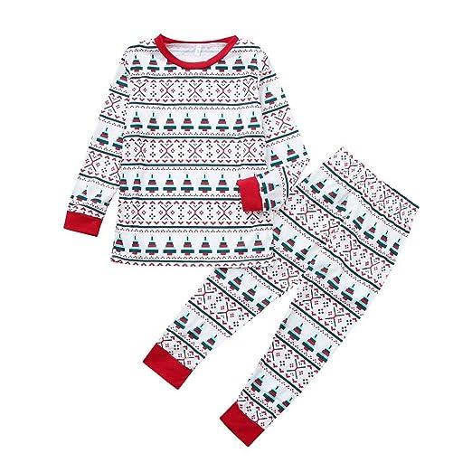 ba0d70a007 FEDULK Matching Family Pajamas Christmas Tree Print Sleepwear Holiday Boys  and Girls Pjs Sets(White