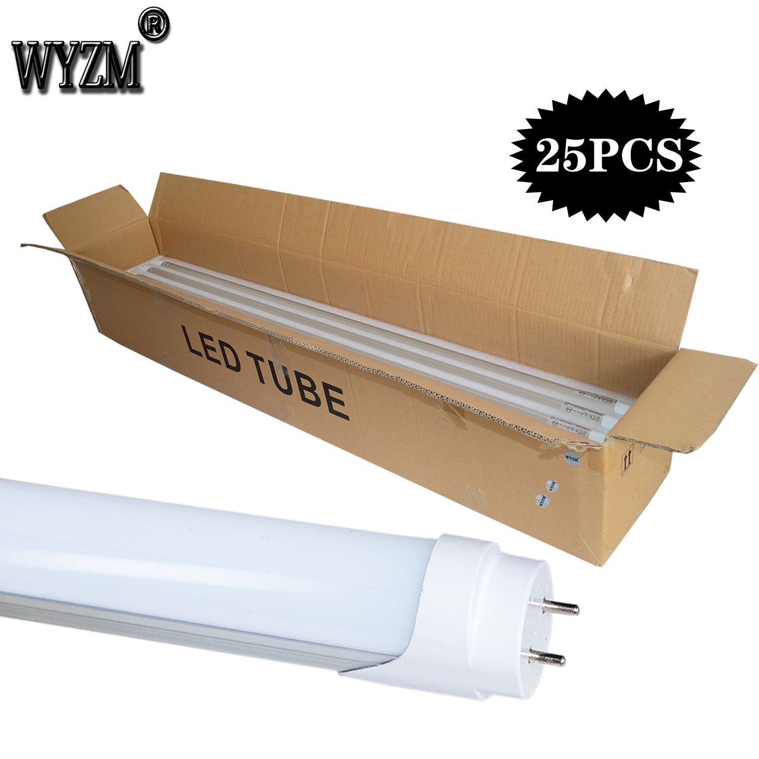 25 Pack of WYZM 20Watt T8 LED Bulbs 4 Foot,40W Fluorescent Tube Replacement,5500K Daylight White,Double End Power (25PACK 4FT 5500K) by WYZM (Image #7)