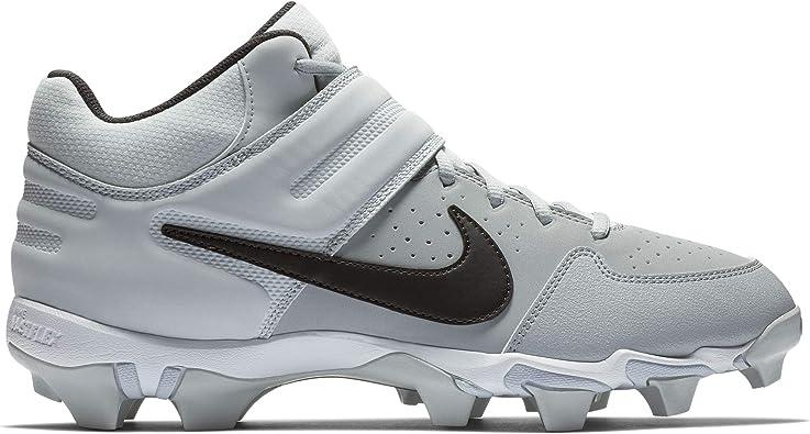 Nike Men's Alpha Huarache Varsity Keystone Mid Molded Baseball Cleat Wolf  Grey/Black/Pure Platinum Size 15 M US