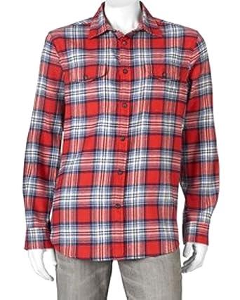 99d8fd1a Sonoma Mens Modern Fit Flannel Shirt Orange Plaid Check at Amazon ...