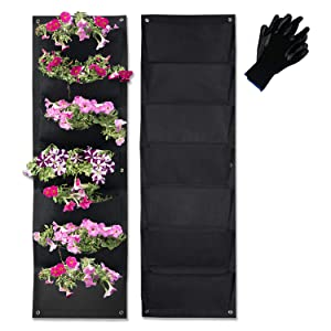 Vertical Garden Hanging Pocket Wall Planters 2 Pack with Bonus Plant Tags & Garden Gloves