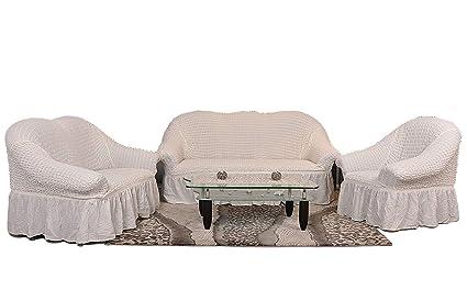 Sultan Palace Funda para sillón y sofá, 50% algodón, 50% poliéster, Blanco, Sofa/3-Sitzer