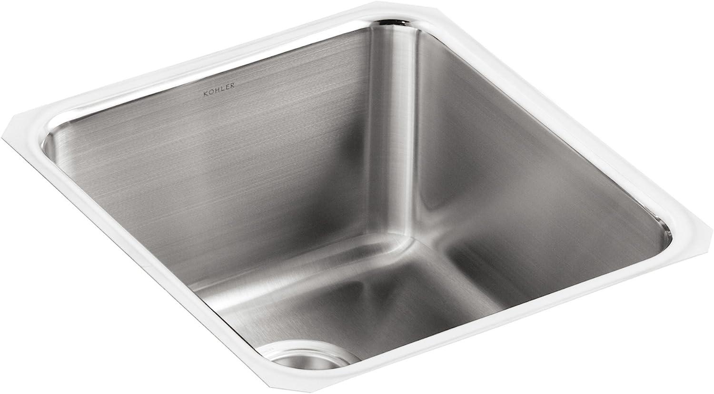 KOHLER K-3330-NA Undertone Medium Squared Undercounter Kitchen Sink, Stainless Steel