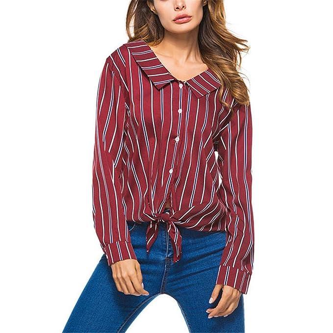 Camisa de Rayas de Cuello Blusa Mujer Primavera de Moda Damas de Manga Larga Tops Casuales Mujeres Camisas: Amazon.es: Ropa y accesorios