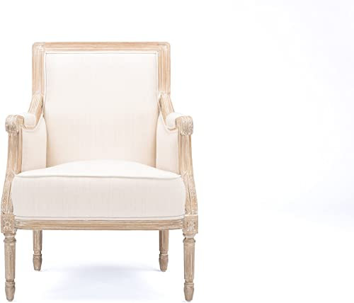 Baxton Studio Chavanon Wood and Linen Traditional French Accent Chair