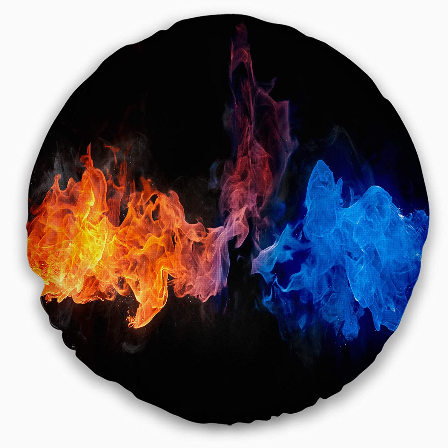 Sofa Throw Pillow 16 Insert Printed On Both Side Designart CU6740-16-16-C Blue and Red Fire Contemporary Round Cushion Cover for Living Room