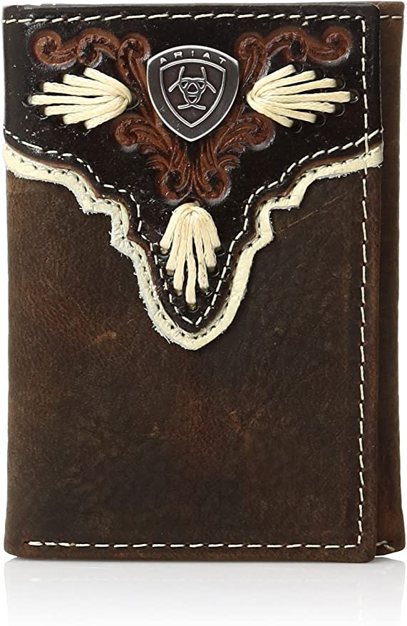 Ariat Western Mens Wallet Trifold Cross Overlay Distressed Brown A3531744