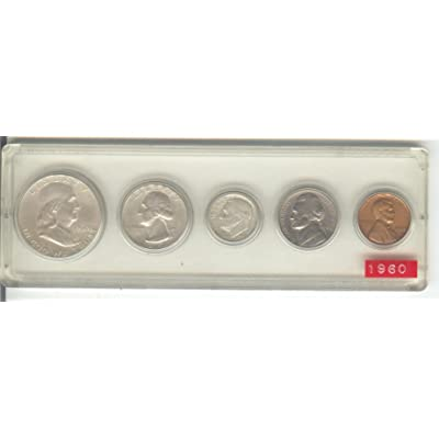1960 BIRTH YEAR COIN SET-5 COINS TOTAL-HALF DOLLAR, QUARTER,DIME,NICKEL,AND CENT ALL DATED 1960 AND DISPLAYED IN A PLASTIC HOLDER--NOTE--THESE COINS WILL BE AS GOOD OR BETTER THEN THE PICTURE--NOTHING LESS: Collectible Coins
