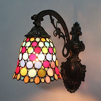Gweat 7 pouces coloré pièces rondes vitrail mur lumière allée concourse chambre chevet couloir allée rétro mur lampe