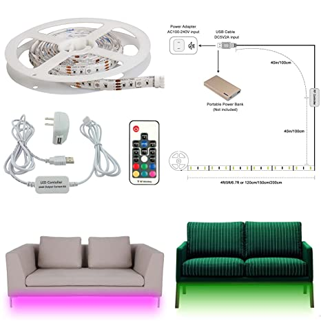 AIBOO Sofa Couch Bed Lights RGB USB LED Under Cabinet Lighting Strips  Illumination RGB Shelf Lights