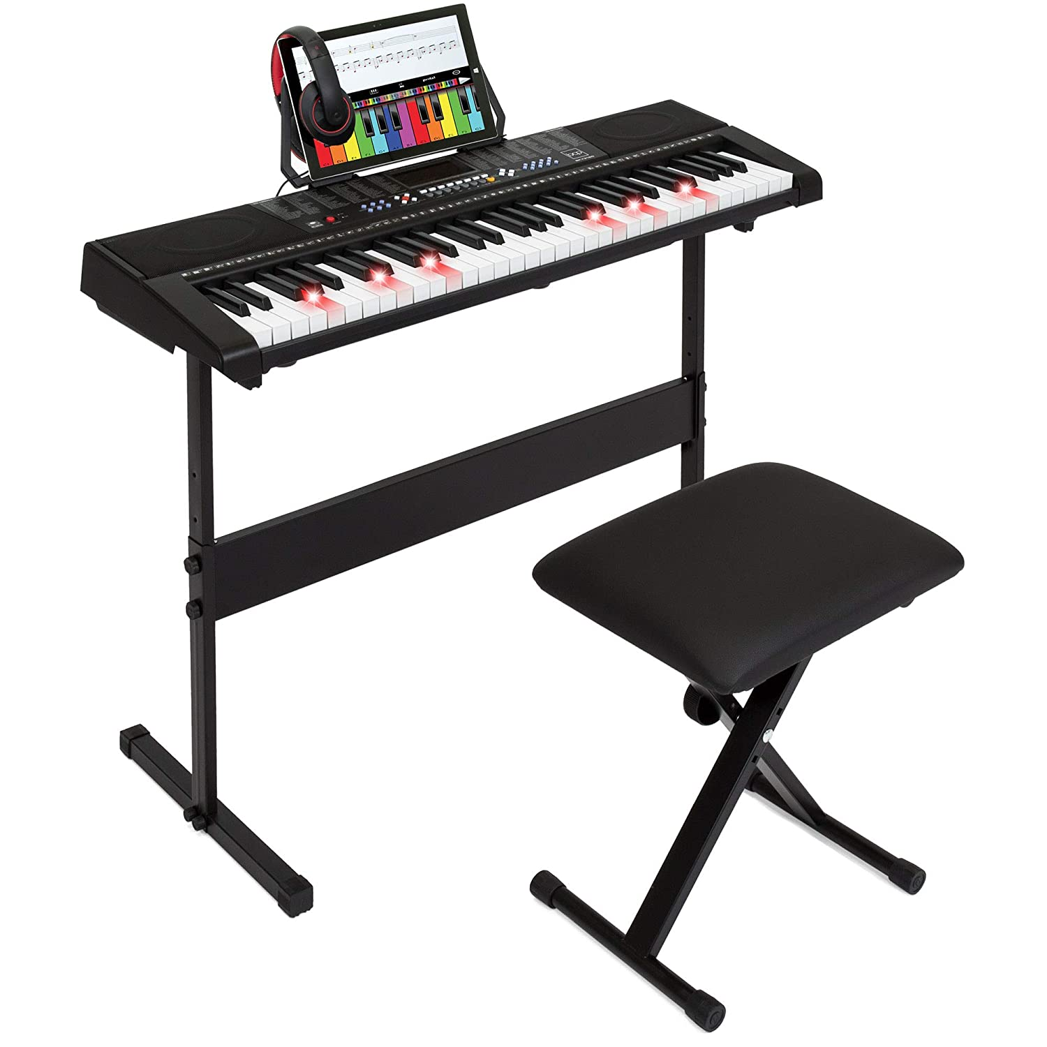 Best Choice Products 61-Key Electronic Keyboard w/Light-Up Keys, 3 Teaching Modes, H-Stand, Stool, Headphones - Black 4334320089