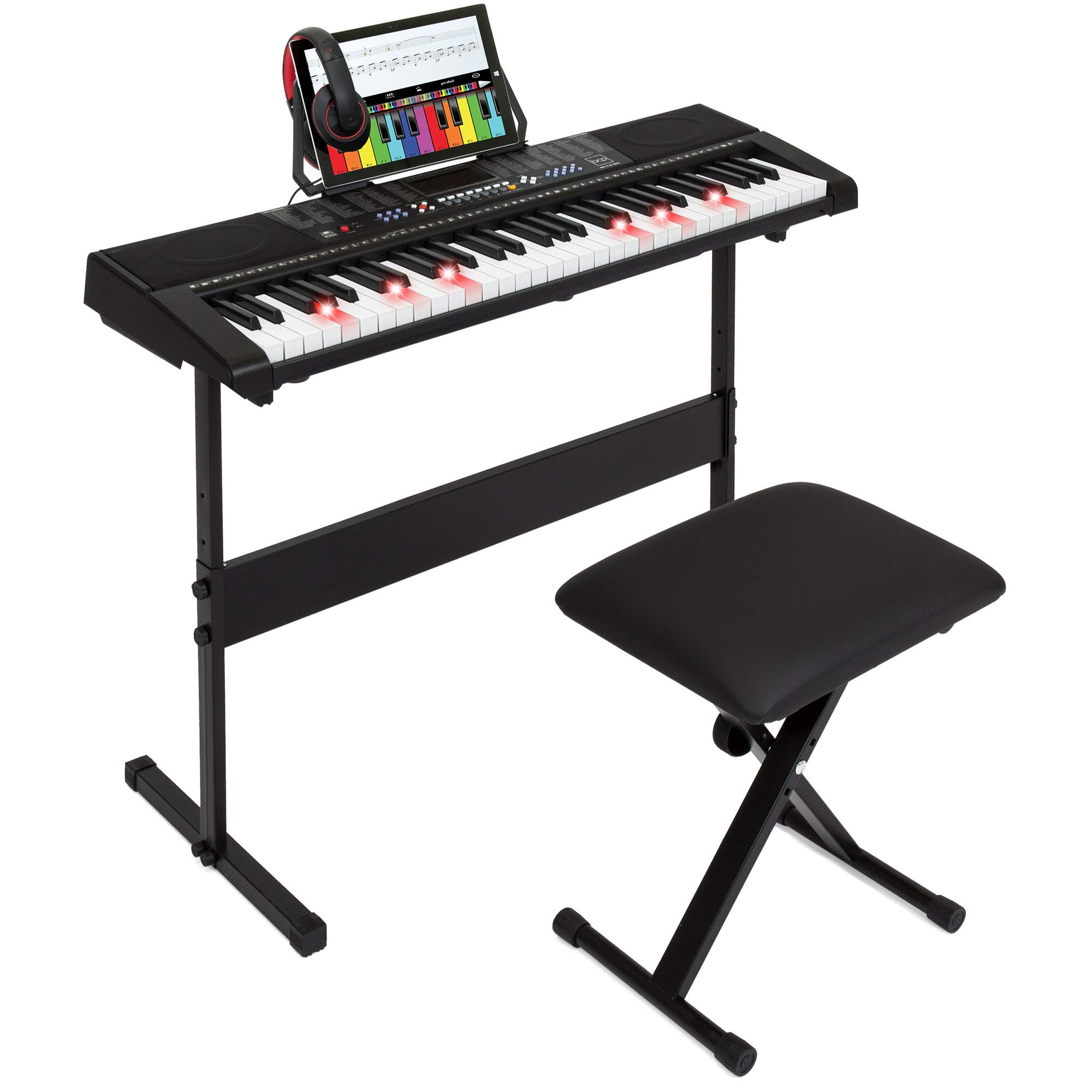 Best Choice Products 61-Key Electronic Keyboard Piano w/Light-Up Keys, 3 Teaching Modes, H-Stand, Stool, Headphones by Best Choice Products
