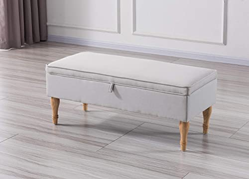 Vesgantti 41 Upholstered Fabric Bench with Storage- Hinged Lift Top Linen Ottoman – Rectangular Cushion Padded Bed Bench Seat Footstool for Entryway Living Room Bedroom Beige