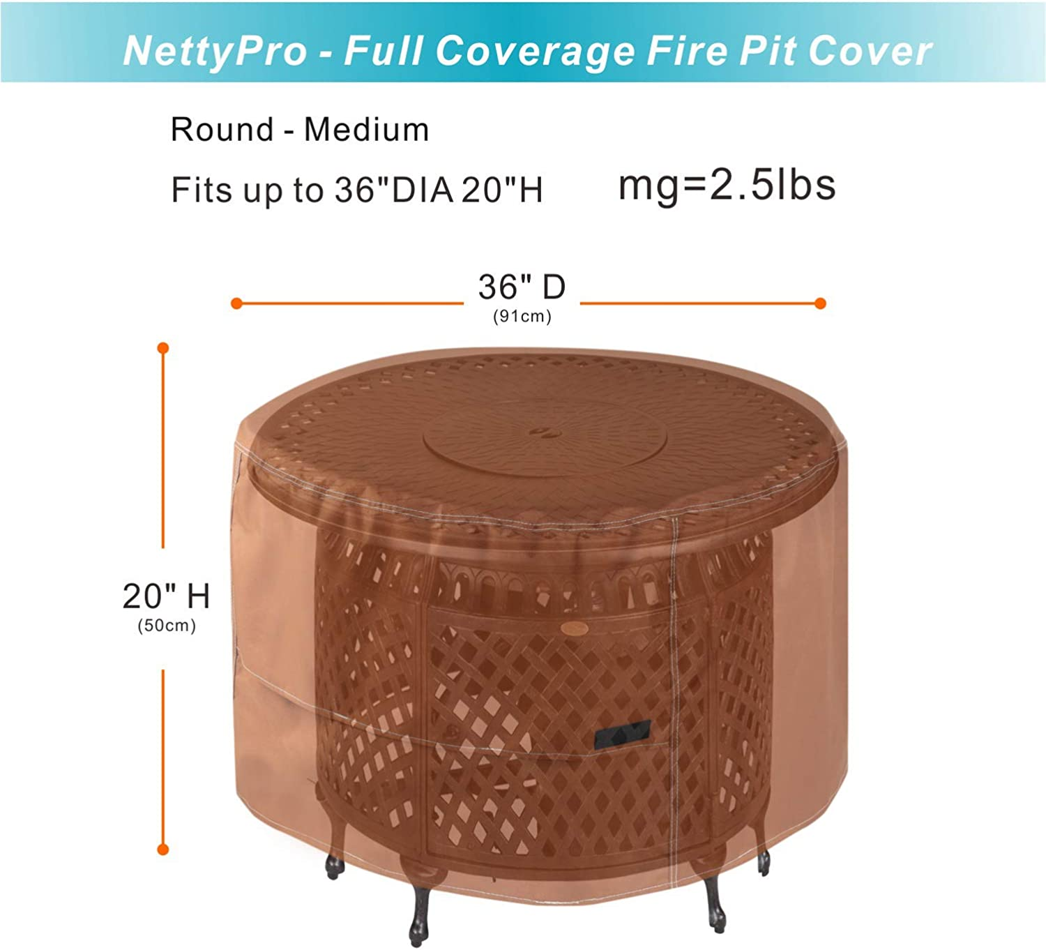 NettyPro Outdoor Patio Fire Pit Cover Round 36 inch 600D Heavy Duty Waterproof Fire Bowl Cover Brown