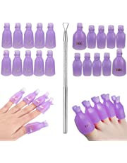AORAEM Acrylic Nail Tips & Foot Soak Off Clip Cap + Stainless Steel Nail Polish Scraper Remover UV Gel Soaking Wraps & Peeler Tool