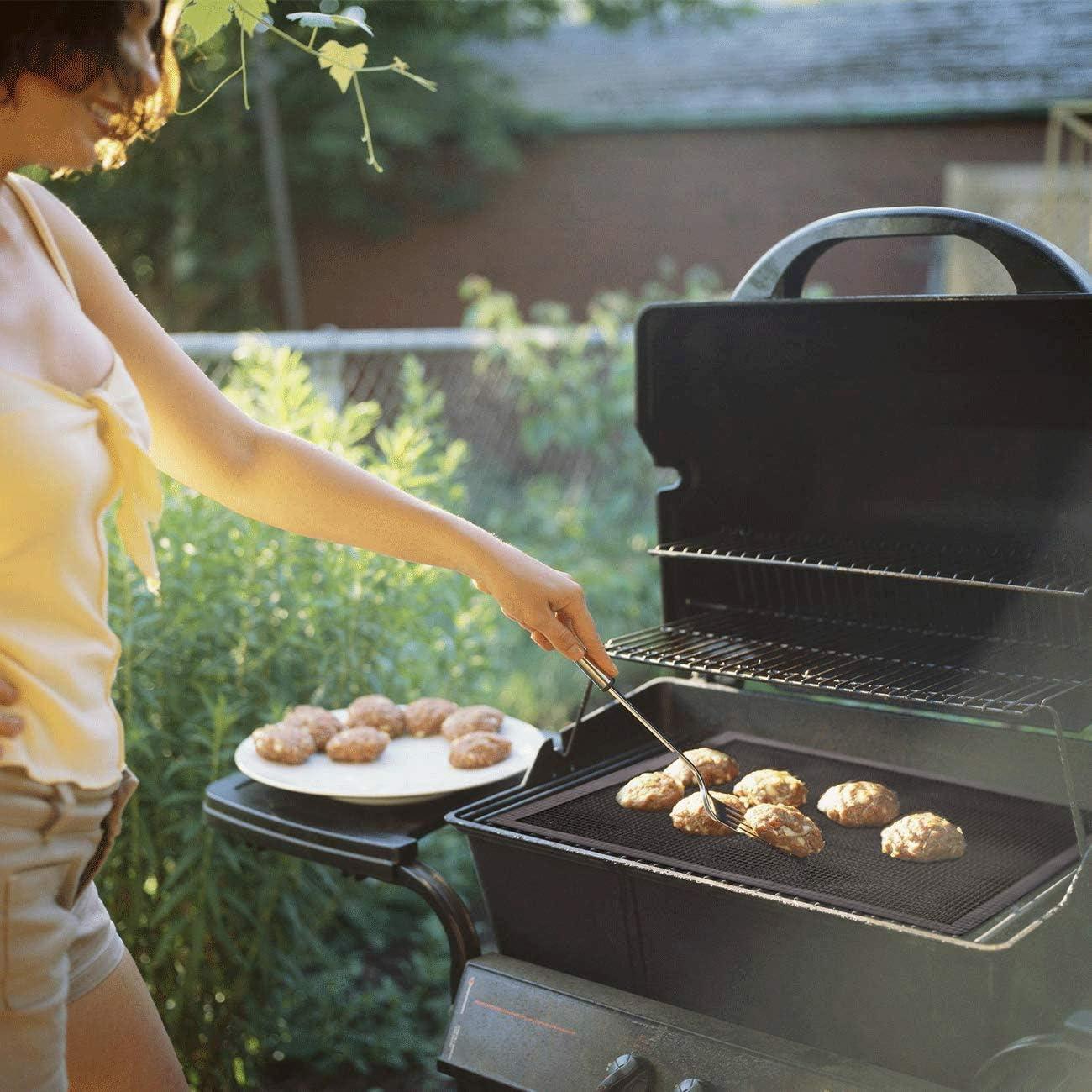 HHHAAA 5 Pièces Tapis Grille Barbecue, Filet Barbecue Tapis de Cuisson Réutilisable et Découpable Grille Anti-adhésif pour Yaourtières Barbecue Four Cuisson 40x33cm Noir