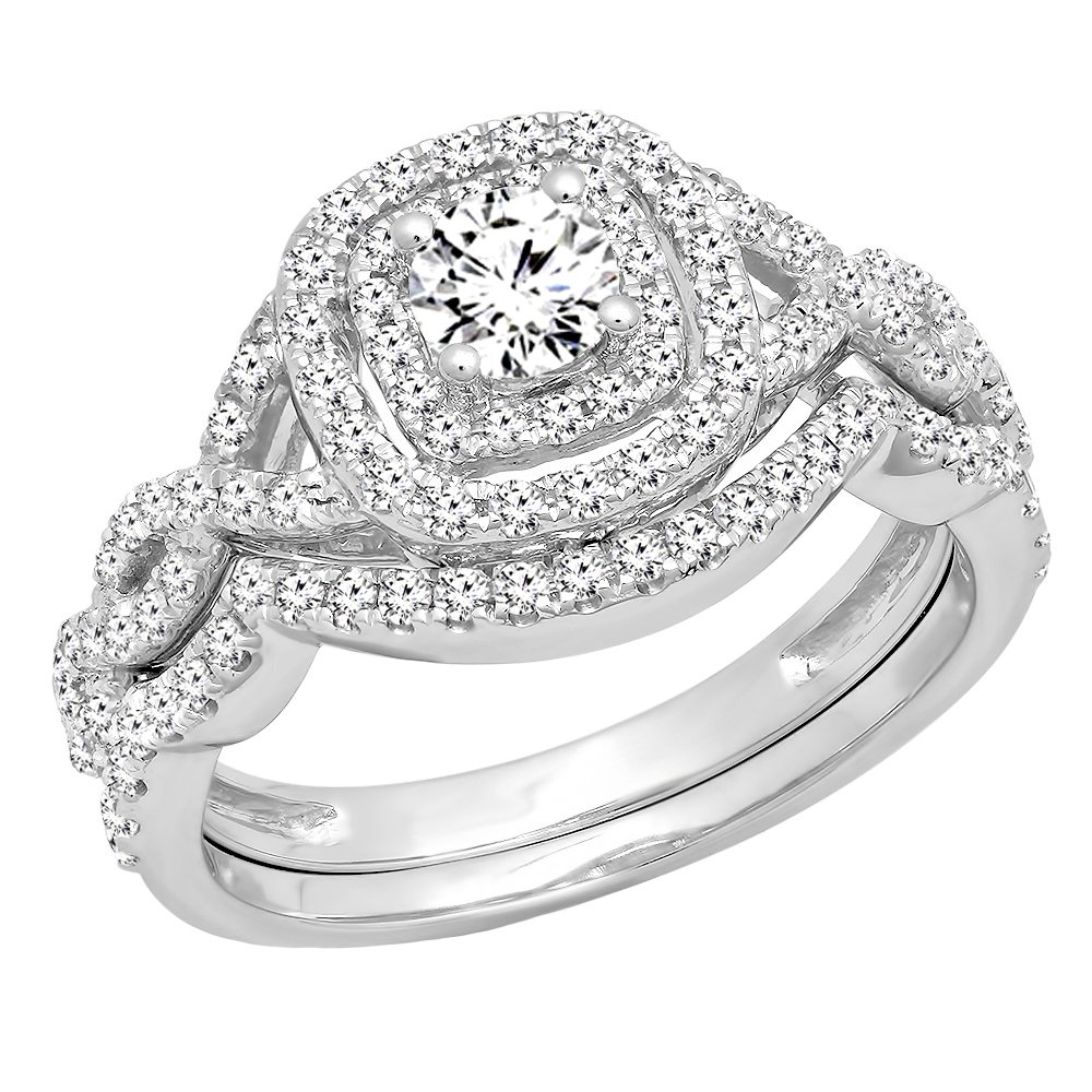 1.00 Carat (ctw) 14K White Gold White Diamond Swirl Bridal Halo Engagement Ring Set 1 CT (Size 7)