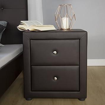Homestyle4u 1834 Nachtschrank Nachttisch Schlafzimmer Kunstleder Braun  Nachtkommode Beistelltisch Mit 2 Schubladen