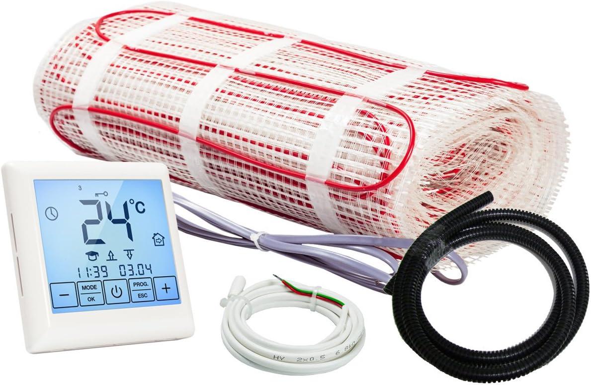 Set Complet avec Thermostat Touchscreen 7.8 m/² 0.5 m x 15.6 m Kit Plancher chauffant /électrique rayonnant 150 W//m/²