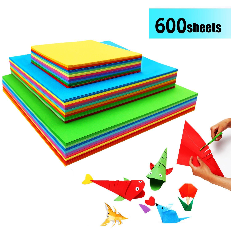 Carta per Origami - 600 Fogli Origami Doppia Faccia Carta Origami Colori per Fai da te Artigianato JXFF Ltd.