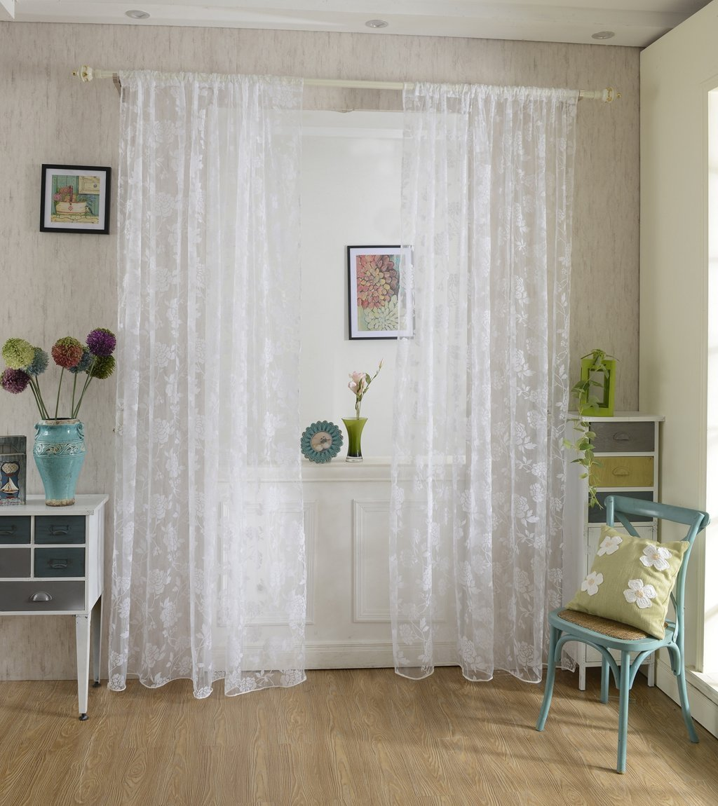 Tenda Tulle Motivo Peonia Floccato Decorazioni Interni Finestre Letto, Misura 100*200cm - Bianco Unbekannt BHBA898