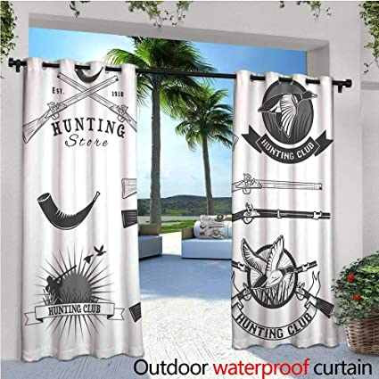 Hunting Outdoor Privacy Curtain For Pergola Store And Club Labels Duck Goose Mallard Reed Bed