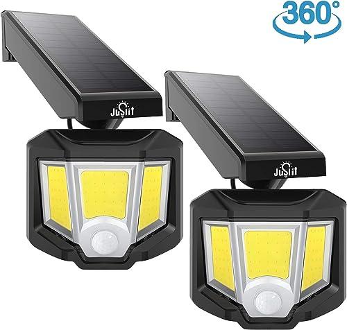 JUSLIT Adjustable Solar Lights Outdoor, 72 COB LED Motion Sensor Light, 360 Rotating Head Wide Angle Illumination, 2 Modes Wireless Security Wall Lighting, IP65 Waterproof