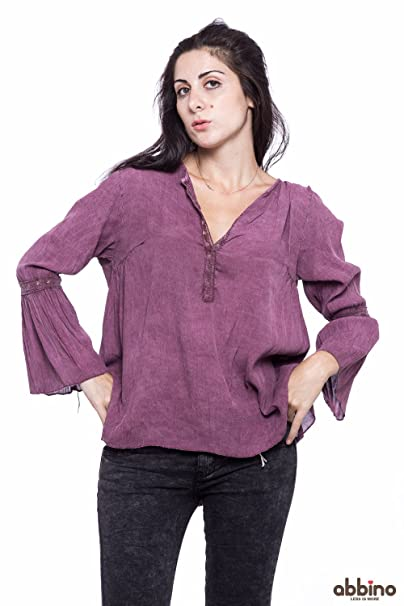Abbino Valeria Camisa Blusa Top para Müjer 5 Colores - Verano Otoño Invierno Mujeres Femenina Elegante Formale Manga Larga Casual Vintage Fiesta Fashion ...