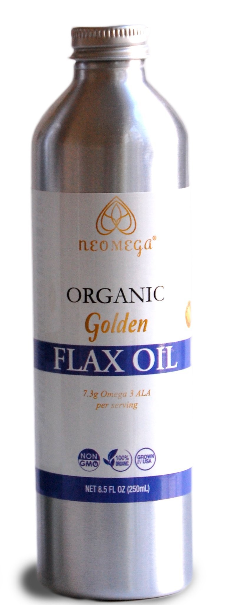 NEOMEGA Organic Golden Flaxseed Oil Virgin, Unrefined Cold Pressed 100% Pure, Product of USA, (8 oz).