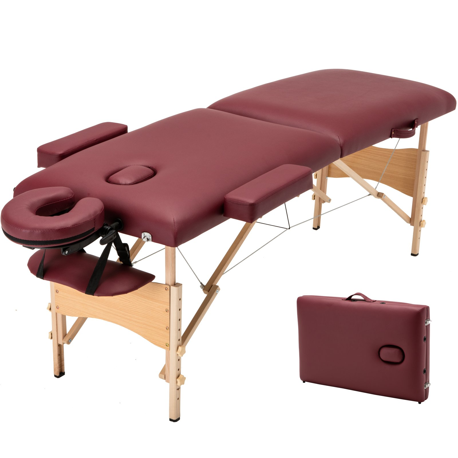 Uenjoy Folding Massage Table 84'' Professional Massage Bed With Carrying Bag 2 Fold,Bronze