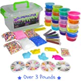 DIY Crystal Slime Making Kit - Super Slime in 24 Colors - Big Kids Craft Kit for Boys & Girls - Supplies Include Foam Balls, Glitter Bottles, Wheel & Fruit Slice Decorations in Clear Container