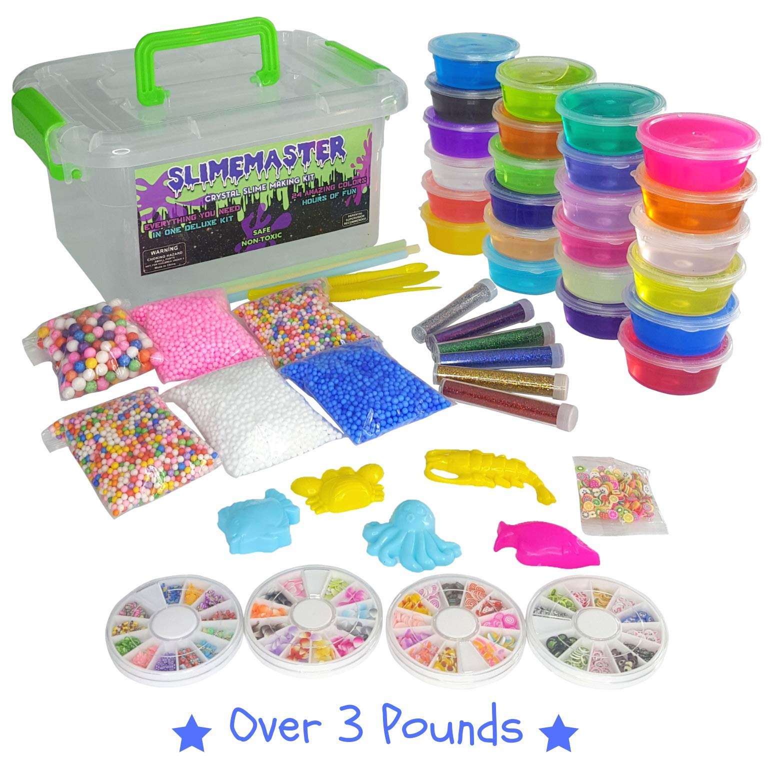 DIY Crystal Slime Making Kit - Super Slime in 24 Colors - Big Kids Craft Kit for Boys & Girls - Supplies Include Foam Balls, Glitter Bottles, Wheel & Fruit Slice Decorations in Clear Container by SLIMEMASTER