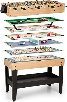 Oneconcept Game-Star - Mesa de Juegos , Mesa multifunción , Incluye 15 Juegos Diferentes , Futbolín , Patas de la
