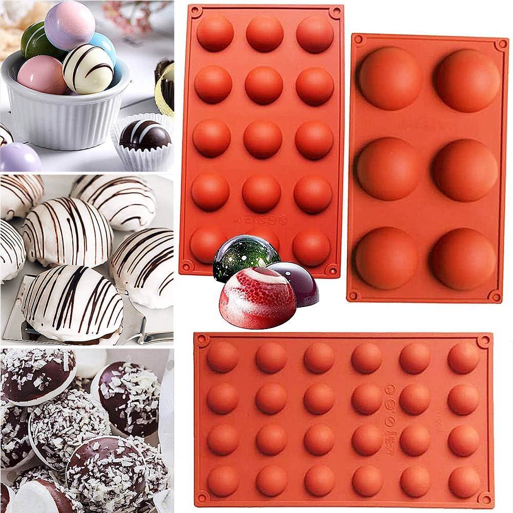 Utilizado en la Cocina Molde para Hornear con Pud/ín de Pastel de Mousse de Chocolate DIY FANDE 3 Pcs Moldes de Silicona Semiesfera Seguro Moldes de Silicona Bola para Horno de 3 Tama/ños