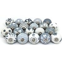 12 pomelli per porta, in ceramica dipinta a mano, per armadietti, cassetti, colore grigio e bianco