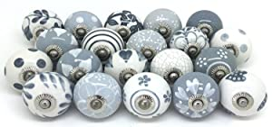 Karmakara Set of 25 Gray & White hand painted ceramic pumpkin knobs cabinet drawer handles pulls