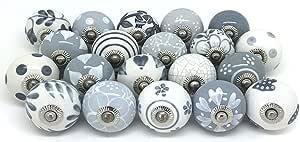 12 Door Knobs Grey & White Hand Painted Ceramic Knob Cabinet Drawer Pull …
