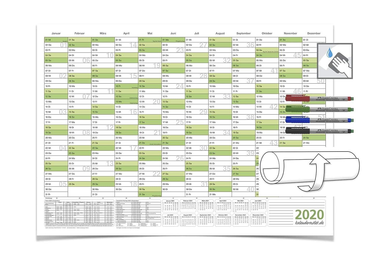 DIN B0 gr/ün 140,0 X 100,0 cm 250g//m2 feucht abwischbar mit 4-ER FABER-CASTELL Marker Jahreskalender 2020