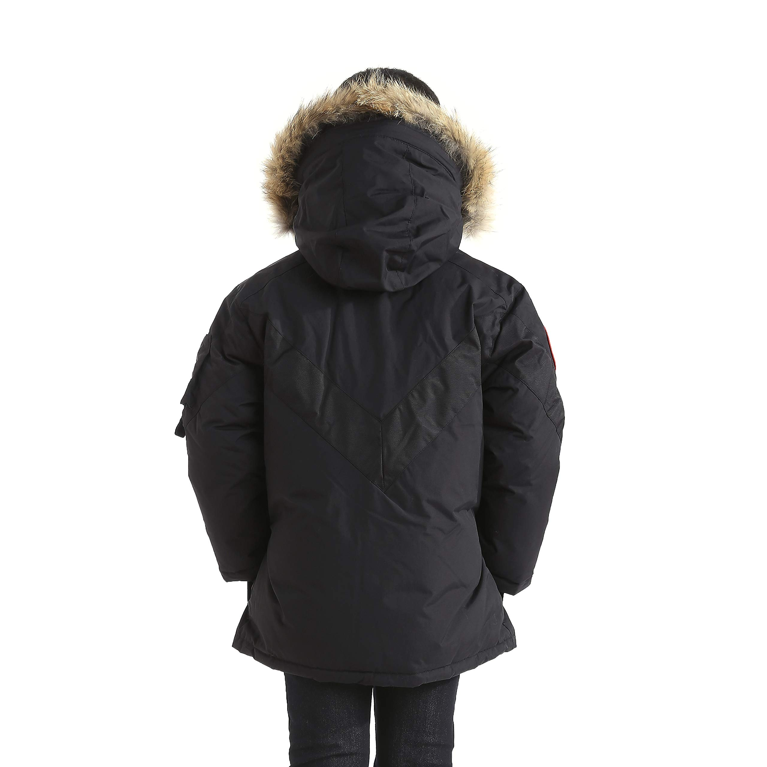 Triple F.A.T. Goose Hesselberg Boys Hooded Goose Down Arctic Parka with Real Coyote Fur (7, Black) by Triple F.A.T. Goose (Image #3)