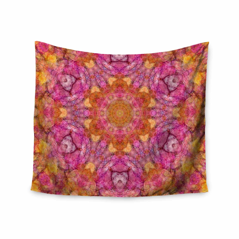 Kess InHouse Justyna Jaszke Mandala Joy Pink Orange Abstract Pattern Digital Illustration Wall Tapestry