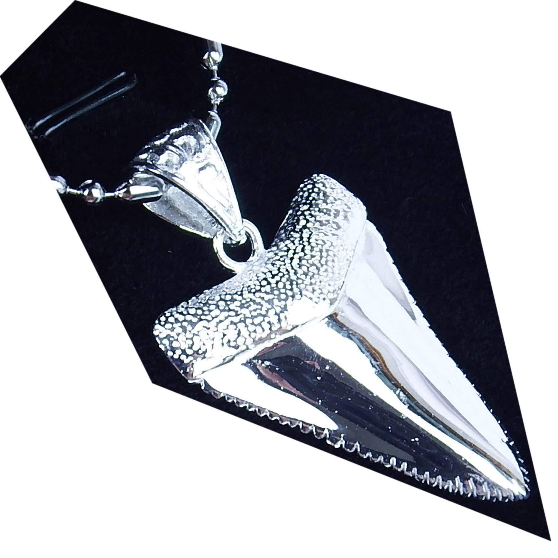GemShark 15g Sterling Silver Necklace Pendant Great White Shark Tooth for Men Women by GemShark (Image #1)