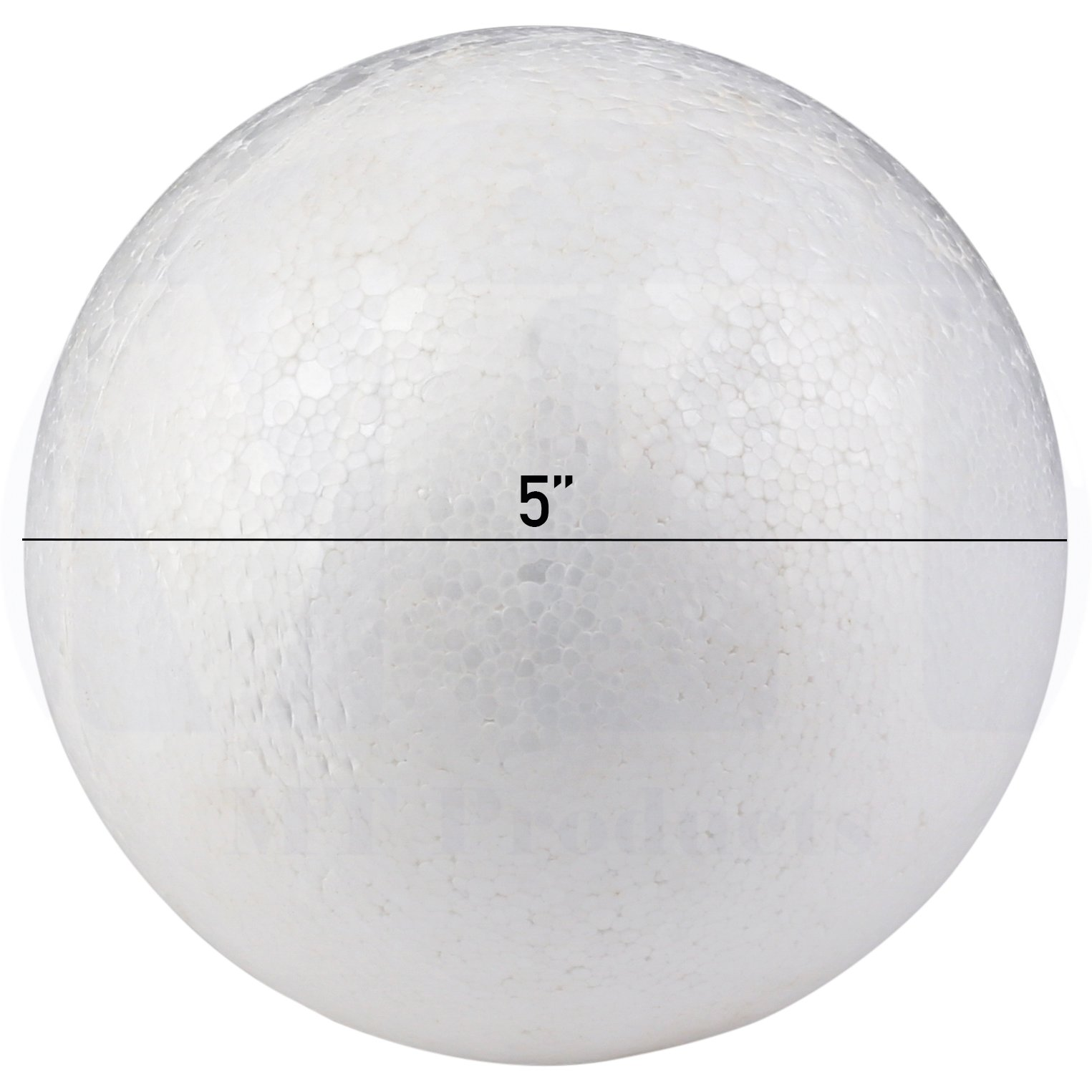 Smooth White Craft Foam Polystyrene Round Balls by MT Products (5 inch) (4 Pieces) by MT Products