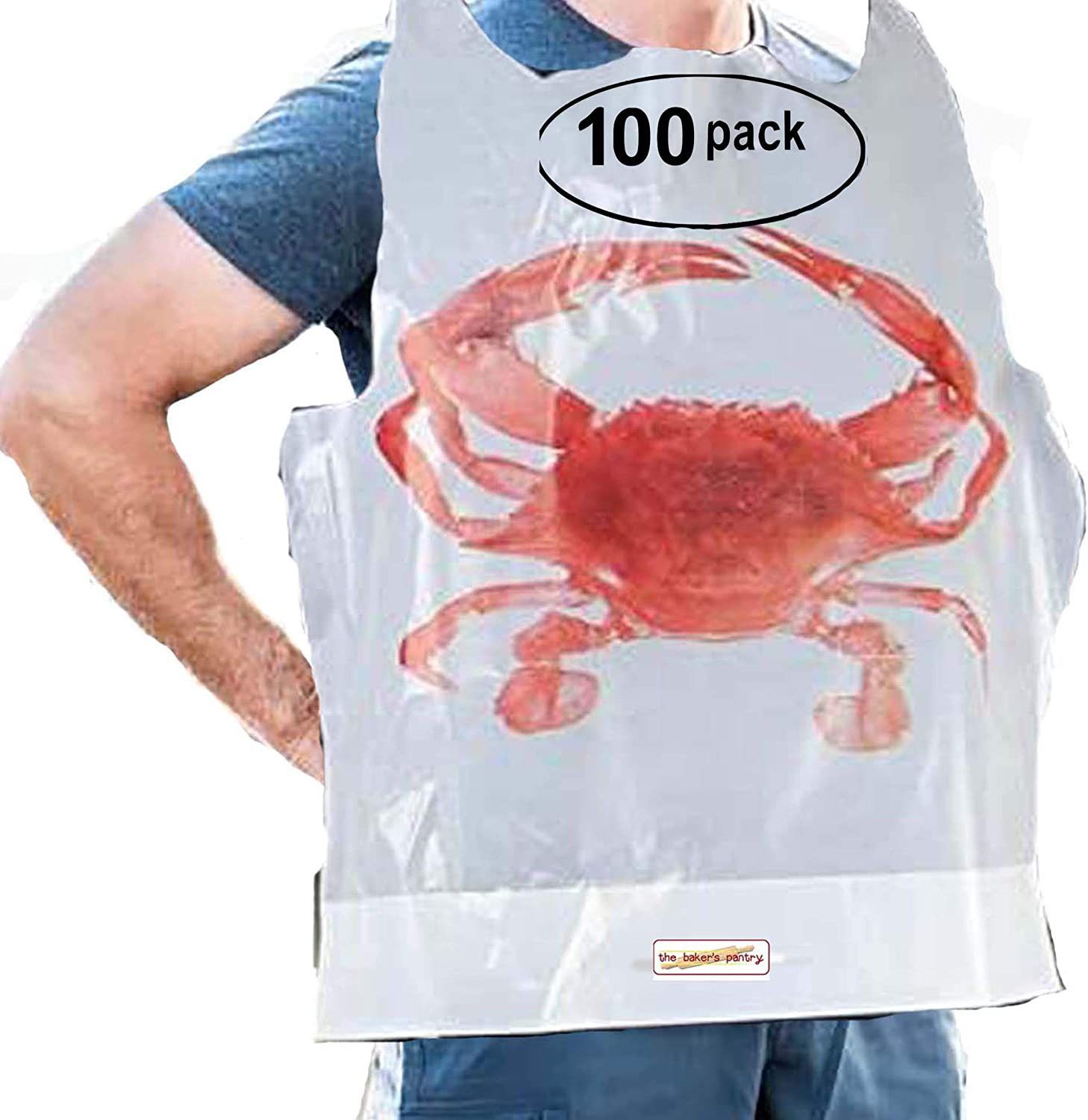 100 Pack Disposable Plastic Lobster Bibs Crawfish Bibs - Adult Disposable Bibs Protect Clothes from Spills, Great for restaurants, seafood or crawfish Party Supply Lobster Bibs