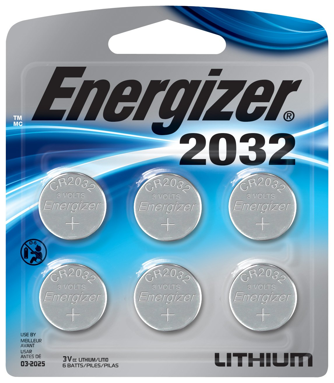 Energizer 2032BP-6 Energizer Lithium 2032 Battery, 6 Count, 0.02 kg Energizer Batteries- Consumables
