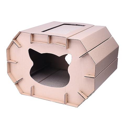 DIY Lovely corrugado cartón rascador gato casa proteger tus muebles